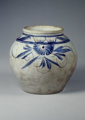 Jar, first half of 20th century. Porcelain, cobalt blue underglaze, Height: 9 7/16 in. (23.9 cm). Brooklyn Museum, Gift of the Estate of Charles A. Brandon, 1991.74.31. Creative Commons-BY