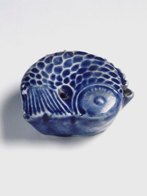 Water Dropper in the Shape of a Fish, 19th century. Porcelain with cobalt blue underglaze decoration, Height: 7/8 in. (2.2 cm). Brooklyn Museum, Gift of the Estate of Charles A. Brandon, 1991.74.33. Creative Commons-BY