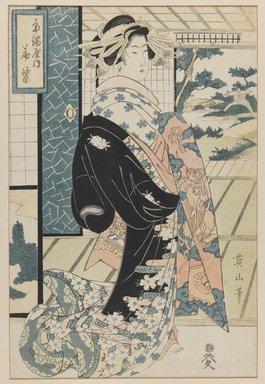 Eizan (Japanese). Bijin, 19th century. Woodblock print, 19 3/4 x 14 1/2 in. (framed). Brooklyn Museum, Gift of Mrs. Nathan L. Burnett, 1991.75.5