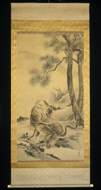 Kishi Chikudo (Japanese, 1826-1897). Tigress with Cubs, 1895. Hanging scroll, ink and light color on silk, overall: 93 x 39 3/4 in. Brooklyn Museum, Gift of Mr. and Mrs. Herbert Greenberg, 1991.76