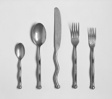 Izabel Lam. Salad Fork from a 5 Piece Place Setting, Sphere Pattern, ca. 1990. Bronze, 5/8 x 7/8 x 7 1/2 in. (1.6 x 2.2 x 19.1 cm). Brooklyn Museum, Gift of Izabel Lam International, 1991.93.3. Creative Commons-BY