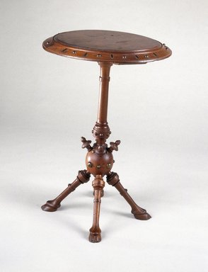 George Jacob Hunzinger (American, born Germany, 1835-1898). Table, 1878. Wood with metal studs, height: 19 1/2 in. (49.5 cm); diameter: 28 in. (71.1 cm). Brooklyn Museum, Maria L. Emmons Fund, 1992.101. Creative Commons-BY
