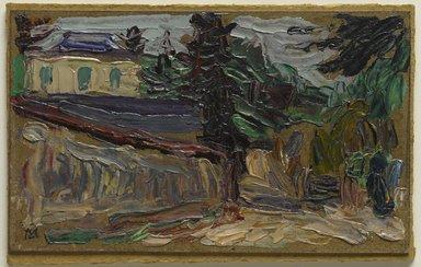 Gabriele Münter (German, 1877-1962). Countryside Near Paris (Bei Paris II), 1907. Oil on paperboard mounted on pulpboard, 3 15/16 x 6 1/2 in. (10 x 16.5 cm). Brooklyn Museum, Bequest of William K. Jacobs, Jr., 1992.107.30