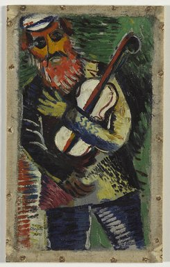 Marc Chagall (French, born Russia, 1887-1985). The Musician (Le Musicien), ca. 1912-1914. Oil on canvas, 9 3/8 x 5 3/8 in. (23.8 x 13.7 cm). Brooklyn Museum, Bequest of William K. Jacobs, Jr., 1992.107.3