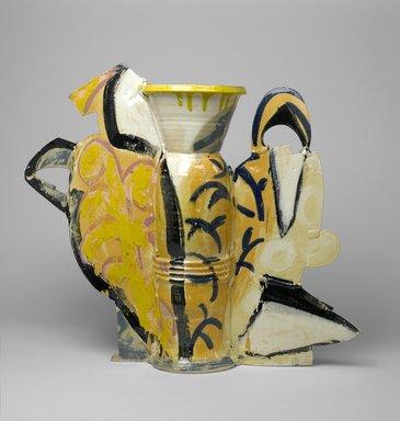 Betty Woodman (American, born 1930). Still Life Vase #10, 1990. Glazed earthenware, 32 1/2 x 39 3/4 x 10 1/2 in. (82.6 x 101 x 26.7 cm). Brooklyn Museum, Gift of Laurence Shopmaker in memory of Scott Burton , 1992.109. © Betty Woodman