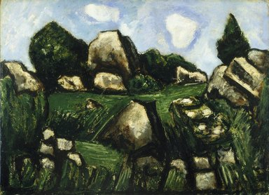 Marsden Hartley (American, 1877-1943). Green Landscape with Rocks, No. 2, 1935-1936. Oil on academy board, 13 x 17 7/8 in. (33 x 45.4 cm). Brooklyn Museum, Bequest of Edith and Milton Lowenthal, 1992.11.14. © Estate of Marsden Hartley, Yale University Committee on Intellectual Property