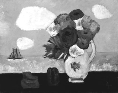Marsden Hartley (American, 1877-1943). Summer Clouds and Flowers, 1942. Oil on fabricated board, 22 x 28 in. (55.9 x 71.1 cm). Brooklyn Museum, Bequest of Edith and Milton Lowenthal, 1992.11.19. © Estate of Marsden Hartley, Yale University Committee on Intellectual Property
