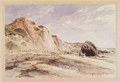 James David Smillie (American, 1833-1909). Gay Head, Martha's Vineyard, 1873. Transparent watercolor with touches of opaque watercolor over graphite on cream, moderately thick, moderately textured wove paper, 6 7/8 x 10 3/8 in. (17.5 x 26.4 cm). Brooklyn Museum, Purchased with funds given in memory of Thomas A. Donnelly, 1992.14.2