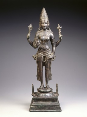 Standing Durga, ca. 970. Bronze, 22 1/2 x 7 7/8 x 6 5/8 in., 25 lb. (57.2 x 20 x 16.8 cm, 11.34kg). Brooklyn Museum, Gift of Georgia and Michael de Havenon, 1992.142. Creative Commons-BY