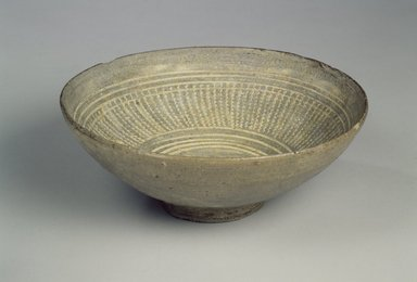 Bowl, 15th century. Buncheong ware, stoneware with gray glaze, Height: 2 1/2 in. (6.3 cm). Brooklyn Museum, Gift of Mrs. John M. Lyden, 1992.148.1. Creative Commons-BY