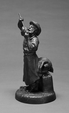 Karl L. H. Mueller (American, born Germany, 1820-1887). Statuette of Blacksmith, ca. 1867. Patinated metal, 10 15/16 x 5 3/8 x 5 3/8 in.  (27.8 x 13.7 x 13.7 cm). Brooklyn Museum, Gift of Emma and Jay Lewis, 1992.163.1. Creative Commons-BY