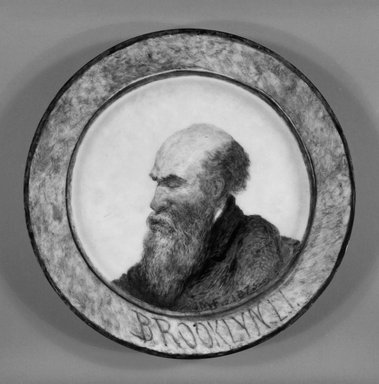 John Mackie Falconer (American, 1820-1903). Plate, ca. 1875. Porcelain with hand-painted decoration, 1 1/8 x 9 x 9 in.  (2.9 x 22.9 x 22.9 cm). Brooklyn Museum, Gift of Emma and Jay Lewis, 1992.163.2. Creative Commons-BY