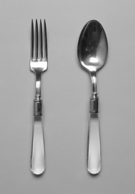 Walter Dorwin Teague (American, 1883-1960). Spoon, ca. 1930. Silver-plate, glass, 7 3/4 x 1 5/8 x 7/8 in.  (19.7 x 4.1 x 2.2 cm). Brooklyn Museum, Gift of Denis Gallion and Daniel Morris, 1992.165.5. Creative Commons-BY