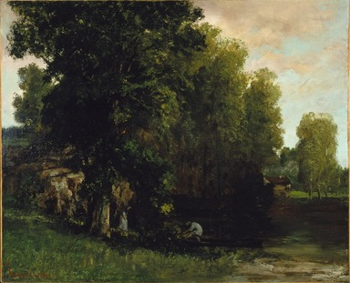 Gustave Courbet (French, 1819-1877). The Edge of the Pool (Au Bord de l'Etang), 1867. Oil on canvas, 31 3/4 x 39 3/8 in. (80.6 x 100 cm). Brooklyn Museum, Gift of Mrs. Horace O. Havemeyer, Mrs. Frederic B. Pratt, and Hyman Brown, by exchange, 1992.17