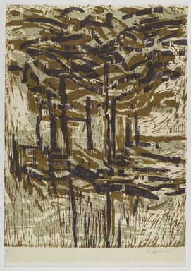 Hollis Jeffcoat. Untitled, 1992. Woodcut on paper, sheet: 25 3/4 x 18 1/16 in. (65.4 x 45.9 cm). Brooklyn Museum, Gift of Walter W. Sawyer, 1992.185.10. © Hollis Jeffcoat