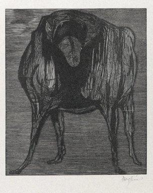 Leonard Baskin (American, 1922-2000). Love Me, Love My Dog, 1958. Wood engraving on thin white wove paper, Sheet: 12 x 15 1/16 in. (30.5 x 38.3 cm). Brooklyn Museum, Gift of Estelle and Jay Sam Unger, 1992.187.3. © Estate of Leonard Baskin, Courtesy Galerie St. Etienne, New York