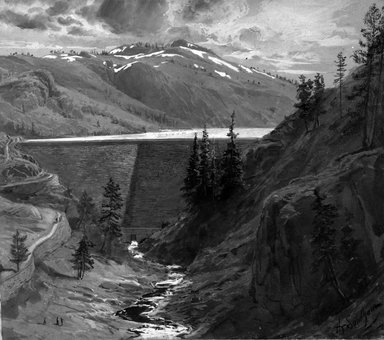 "Hydraulic Mining - Big Canyon Dam (Illustration for ""Century Magazine"")"