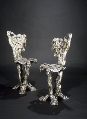 Yves Marthelot (French, born 1949). Side Chair, ca. 1985. Wood with gesso and silvering, 34 x 15 x 17 in.  (86.4 x 38.1 x 43.2 cm). Brooklyn Museum, Gift of Mr. and Mrs. Bruce M. Newman, 1992.205.2. Creative Commons-BY