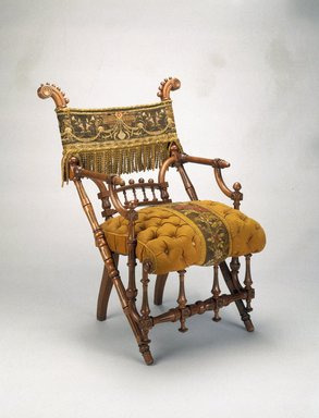 George Jacob Hunzinger (American, born Germany, 1835-1898). Armchair, designed: 1869; patented: March 30, 1869. Wood, original upholstery, 35 5/8 x 27 1/4 x 25 1/2 in.  (90.5 x 69.2 x 64.8 cm). Brooklyn Museum, H. Randolph Lever Fund, 1992.208. Creative Commons-BY