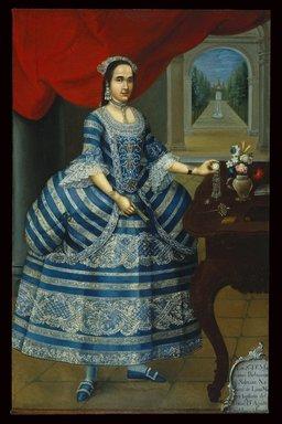 José Joaquín Bermejo (Peruvian, active ca. 1760-1792). Doña Mariana Belsunse y Salasar, ca. 1780. Oil on canvas, Canvas: 78 1/8 x 50 1/16 in. (198.4 x 127.2 cm). Brooklyn Museum, Gift of Mrs. L.H. Shearman, 1992.212