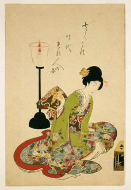 Toyohara Chikanobu (Japanese, 1838-1912). A Seated Woman with a Lacquer Candle Stand, late 19th-20th century. Woodblock print, 14 1/4 x 9 3/8 in. (36.2 x 23.8 cm). Brooklyn Museum, Gift of Mr. and Mrs. Peter P. Pessutti, 1992.264.2