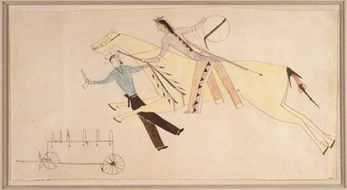 Possibly Cheyenne (Native American). Ledger Book Drawing, ca. 1890. Ink, crayon, woven paper, 6 7/8 x 13 3/8 in. Brooklyn Museum, Gift of The Roebling Society, 1992.27.1