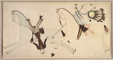 Possibly Cheyenne (Native American). Ledger Book Drawing, ca. 1890. Ink, crayon, woven paper, 6 7/8 x 13 3/4 in. Brooklyn Museum, Gift of The Roebling Society, 1992.27.2