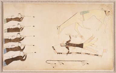 Possibly Cheyenne (Native American). Ledger Book Drawing, ca. 1890. Ink, crayon, woven paper, 8 1/2 x 14 in. (21.6 x 35.6 cm). Brooklyn Museum, Gift of The Roebling Society and A. Augustus Healy Fund, 1992.27.3