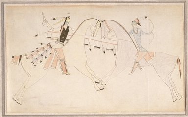 Possibly Cheyenne (Native American). Ledger Book Drawing, ca. 1890. Ink, crayon,paper, 8 1/2 x 14 in. (21.6 x 35.6 cm). Brooklyn Museum, Gift of Mr. and Mrs. Alastair B. Martin, the Guennol Collection, 1992.27.4