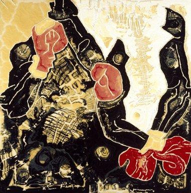 Joe Zucker (American, born 1941). Boxing Painting Round #2, 1981. Acrylic, cotton, rhoplex on canvas, enamel on wood Brooklyn Museum, Gift of Max Munn and Ted Stevens, 1992.272. © Joe Zucker