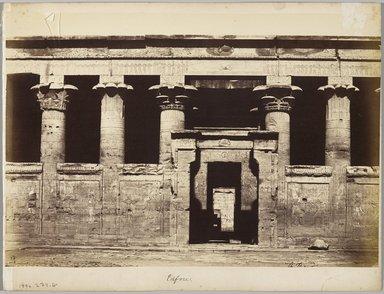 Antonio Beato (Italian and British, after 1832-1906). Edfu, Egypt, 1858. Albumen silver photograph, sheet: 10 1/4 x 14 1/2 in. (26 x 36.8 cm). Brooklyn Museum, Gift of Richard Abrams, 1992.274.8