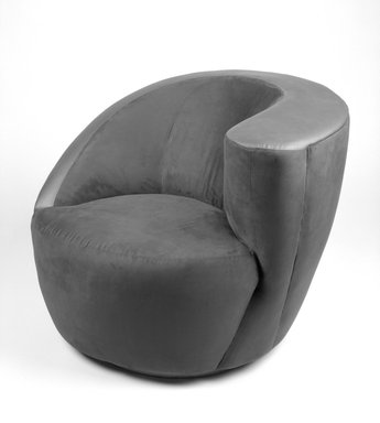 Vladimir Kagan (American, born Germany,1928). Arm Swivel Lounge Chair, Model 3741C, ca. 1991. Ultrasuede, leather, wood, 29 x 36 1/4 x 32 1/2 in. (73.7 x 92.1 x 82.6 cm). Brooklyn Museum, Gift of Directional, Inc.