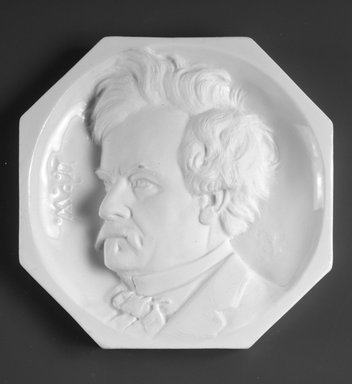 Karl L. H. Mueller (American, born Germany, 1820-1887). Plaque, Portrait of Edwin Forrest, ca. 1875. Porcelain, 5 13/16 x 5 13/16 x 1 in.  (14.8 x 14.8 x 2.5 cm). Brooklyn Museum, H. Randolph Lever Fund, 1992.45. Creative Commons-BY