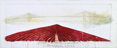 Robert Stackhouse (American, born 1942). Sighting for the Brooklyn Bridge Project, February 14, 1983. Watercolor, acrylic, black chalk, and graphite, 59 x 145 in. (149.9 x 368.3 cm). Brooklyn Museum, Gift of Theodore and Charlotte Tieken, 1992.59. © Robert Stackhouse