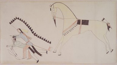 Possibly Cheyenne (Native American). Ledger Book Drawing, ca. 1890. Ink, crayon, woven paper, 7 1/4 x 14 in. (18.4 x 35.6 cm). Brooklyn Museum, A. Augustus Healy Fund, 1992.76.1