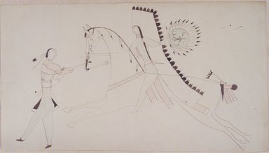 Possibly Cheyenne (Native American). Ledger Book Drawing, ca. 1890. Ink, crayon, woven paper, 7 3/4 x 14 in. (19.7 x 35.6 cm). Brooklyn Museum, A. Augustus Healy Fund, 1992.76.2
