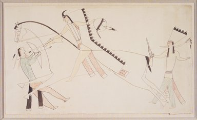 Possibly Cheyenne (Native American). Ledger Book Drawing, ca. 1890. Ink, crayon, woven paper, 7 1/4 x 12 1/2 in. (18.4 x 31.8 cm). Brooklyn Museum, A. Augustus Healy Fund, 1992.76.3