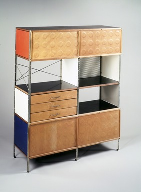 Charles Eames (American, 1907-1978). Storage Unit, 1948-1954. Birch plywood, masonite, black plastic laminate veneer, chrome-plated steel, white metal, rubber, Overall:  58 1/2 x 46 7/8 x 16 7/8 in. (148.6 x 119.0 x 42.9 cm). Brooklyn Museum, Marie Bernice Bitzer Fund, 1992.7. Creative Commons-BY
