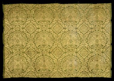 Loom Width of Silk Fragment, 13th-14th century. Silk, gilt paper