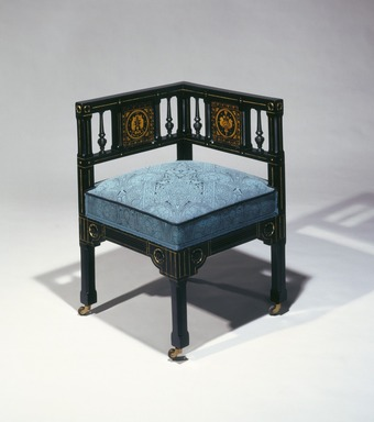 Kimbel and Cabus (1863-1882). Corner Chair (Modern Gothic style), ca. 1880. Ebonized cherry wood, gilt-incised decoration, modern upholstery, 27 3/8 x 18 1/2 x 18 1/2 in. (69.5 x 47.0 x 47.0 cm). Brooklyn Museum, Bequest of DeLancey Thorn Grant in memory of her mother, Louise Floyd-Jones Thorn, by exchange, 1992.9. Creative Commons-BY