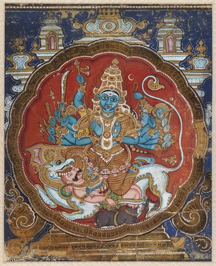 Indian. Durga Killing the Buffalo Demon, 19th century. Opaque watercolor embellished with applied gold and lacquer strips, 15 5/8 x 12 1/4 in.  (39.7 x 31.1 cm). Brooklyn Museum, Gift of Dr. Bertram H. Schaffner, 1993.106.2