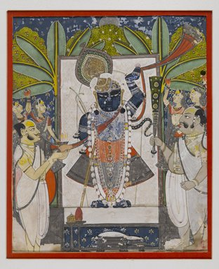 Sri Nathaji, ca. 1775. Opaque watercolor, gold and silver on paper, 11 7/8 x 9 1/4 in. (30.2 x 23.5 cm). Brooklyn Museum, Gift of Dr. Bertram H. Schaffner, 1993.106.3
