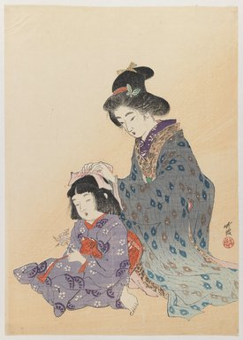 Odake Chikuha (1878-1936). Woman Fixing Girl's Hair, 1900. Woodblock print, 12 1/8 x 8 5/8 in. (30.8 x 21.9 cm). Brooklyn Museum, Gift of Dr. Bertram H. Schaffner, 1993.106.5