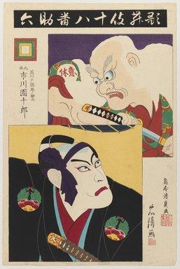 Torii Kiyotada VII (Japanese, 1875-1941). Ichikawa Danjuro IX as Hanakawado Agemakino Sukeroku and Ikyu, 1895. Woodblock print with embossing, 14 x 9 1/4 in. (35.6 x 23.5 cm). Brooklyn Museum, Gift of Dr. Bertram H. Schaffner, 1993.106.6