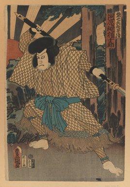 Utagawa Toyokuni III  (Kunisada) (Japanese, 1786-1864). The Kabuki Actor Kawaharazaki Gonjuro as Kagekiyo, 1861. Woodblock print, 14 1/4 x 9 3/4 in. (36.2 x 24.8 cm). Brooklyn Museum, Gift of Dr. Bertram H. Schaffner, 1993.106.8