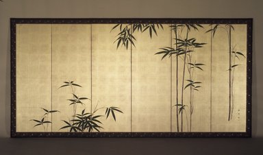 Oda Kaisen (Japanese, 1785-1862). Young Bamboo, ca. 1850. One of a pair of six-fold screens, colors on gold leaf applied to paper, Each of 6 panels: 17 7/8 x 53 3/4 in. (45.4 x 136.5 cm). Brooklyn Museum, Gift of the Estate of Charles A. Brandon, by exchange, 1993.107.1. Creative Commons-BY