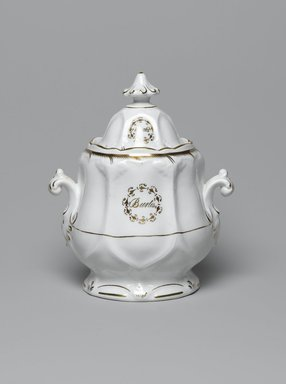 Sugar Bowl with Lid from a Twelve Piece Tea Service, Patented 1853. Porcelain, bowl: 5 1/4 x 6 x 4 in. (13.3 x 15.2 x 10.2 cm). Brooklyn Museum, Gift of the Family of Paul E. Burtis, 1993.109.11a-b. Creative Commons-BY