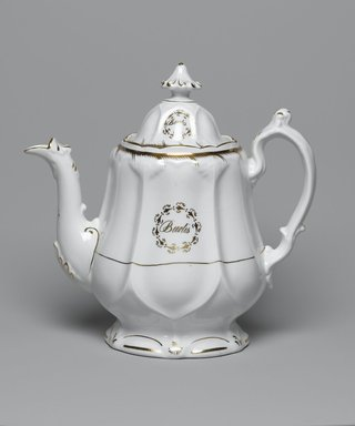 Teapot with Lid from a Twelve Piece Tea Service, Patented 1853. Porcelain, teapot: 7 1/2 x 9 1/4 x 4 1/4 in. (19.0 x 23.5 x 10.8 cm). Brooklyn Museum, Gift of the Family of Paul E. Burtis, 1993.109.12a-b. Creative Commons-BY