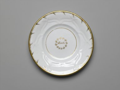 Plate from a Twelve Piece Tea Service, Patented 1853. Porcelain, 1 x 7 3/4 x 7 3/4 in. (2.5 x 19.2 x 19.2 cm). Brooklyn Museum, Gift of the Family of Paul E. Burtis, 1993.109.1. Creative Commons-BY
