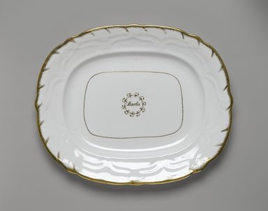 Platter from a Twelve Piece Tea Service, Patented 1853. Porcelain, 1 x 12 1/2 x 10 1/4 in. (2.5 x 31.8 x 26.0 cm). Brooklyn Museum, Gift of the Family of Paul E. Burtis, 1993.109.3. Creative Commons-BY